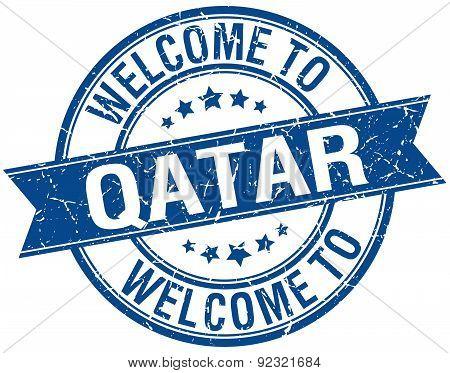 Welcome To Qatar Blue Round Ribbon Stamp
