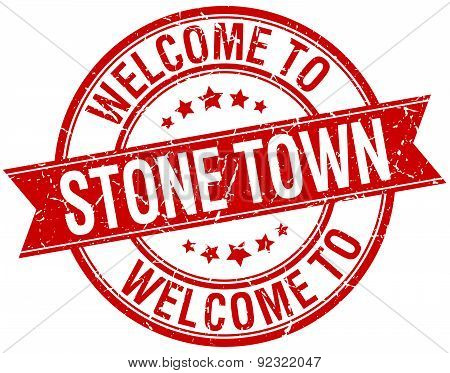 Welcome To Stone Town Red Round Ribbon Stamp