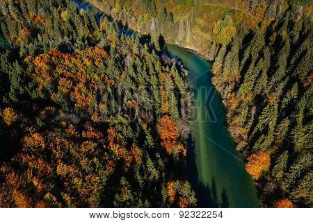 Pristine Alpine River Meandering Through Forested Landscape