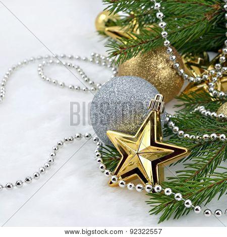 Gold Star And Christmas Balls
