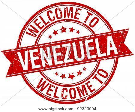 Welcome To Venezuela Red Round Ribbon Stamp