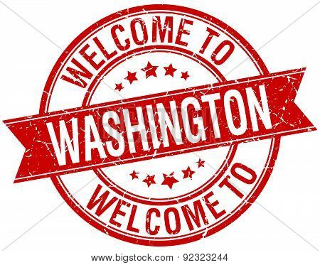 Welcome To Washington Red Round Ribbon Stamp