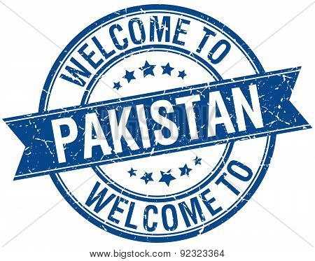 Welcome To Pakistan Blue Round Ribbon Stamp