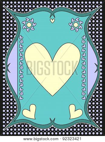 Romantic background with dots and hearts