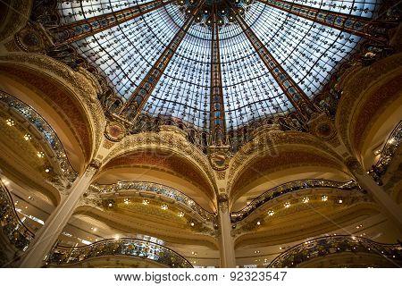 Galeries Lafayette interior in Paris.