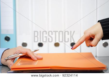 Businesswoman Is Pointing With Finger To Unfinished Work To Be Done As Soon As Possible, Authority B