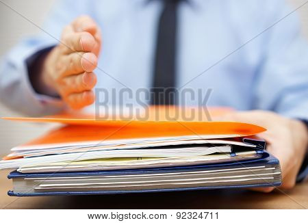 Businessman Is Offering Hand To His Partner If He Accept Documentation