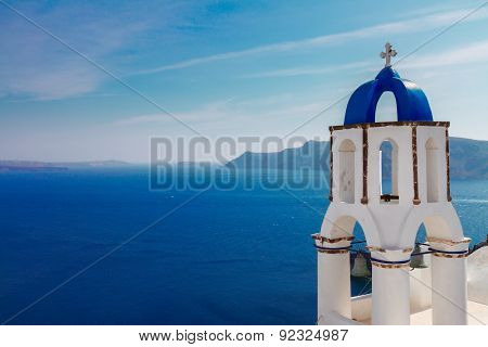 view of caldera with stairs and belfry, Santorini
