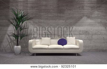Elegant White Couch Beside Green Plant on Vase at the Modern Architectural Spacious Living Room with Wooden Walls Style. 3d Rendering.