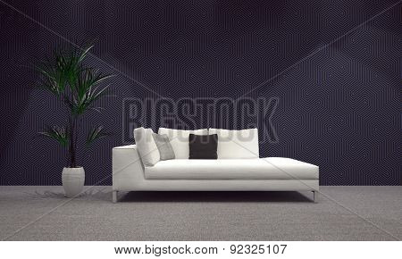 Spacious Modern Architectural Living Area with White Sofa and Plant on Vase, Designed with Abstract Gray Wall. 3d Rendering.