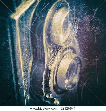 Vintage dual lens camera on a black background