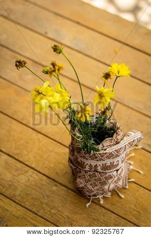 Beautiful Yellow Flowers Wrapped In Cotton.