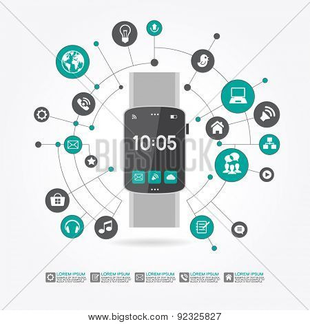 Watches surrounded by abstract computer network with integrated circles and icons for digital,  network, internet, connect, social media, communicate Infographic design background. AI10 EPS version.