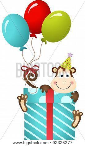 Birthday monkey on gift box