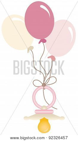 Pink baby pacifier with balloons