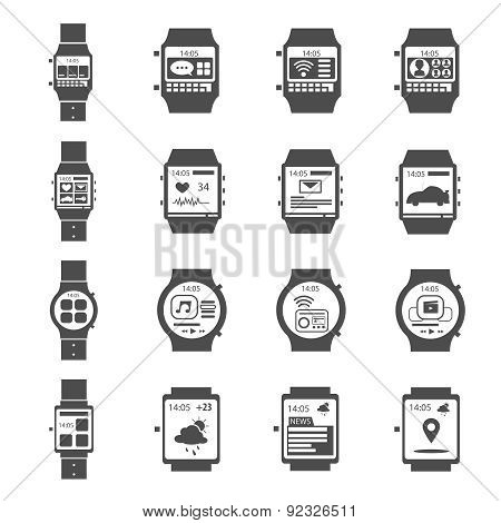 Smart Watch Icon Black Set