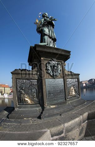 Statue Of John Of Nepomuk On Charles Bridge