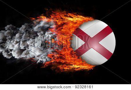 Flag With A Trail Of Fire And Smoke - Alabama