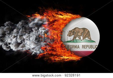 Flag With A Trail Of Fire And Smoke - California