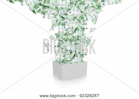 Euro Banknotes Streaming In White Box