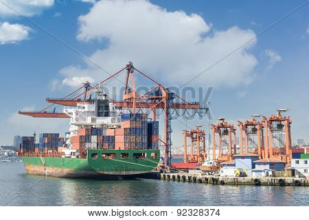 Cargo Ship Docked At Harbour