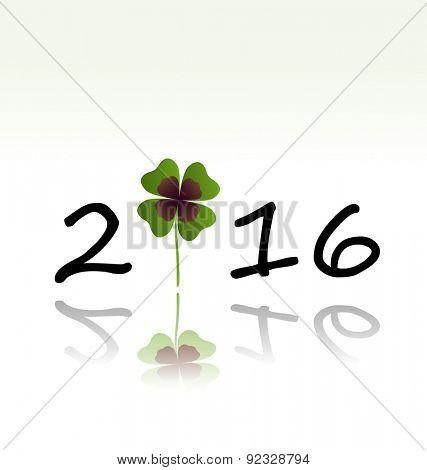 2016 greeting card with shamrock leaf