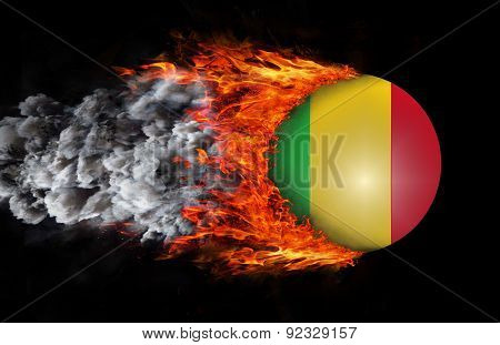 Flag With A Trail Of Fire And Smoke - Mali