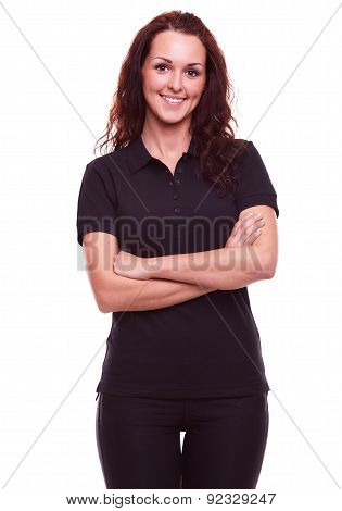 Smiling Woman In Black Polo Shirt With Arms Crossed, On A White Background