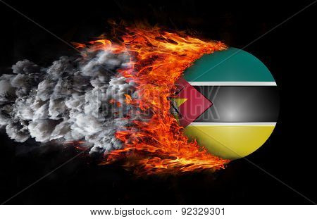 Flag With A Trail Of Fire And Smoke - Mozambique