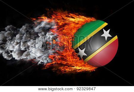 Flag With A Trail Of Fire And Smoke - Saint Kitts And Nevis