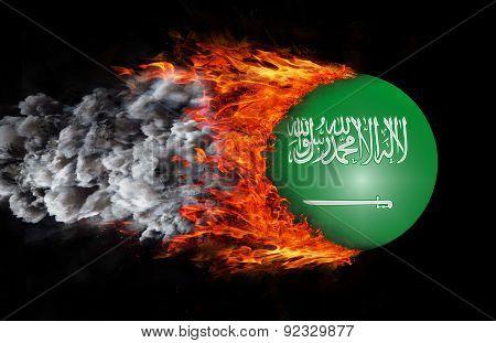 Flag With A Trail Of Fire And Smoke - Saudi Arabia