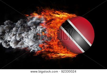 Flag With A Trail Of Fire And Smoke - Trinidad And Tobago