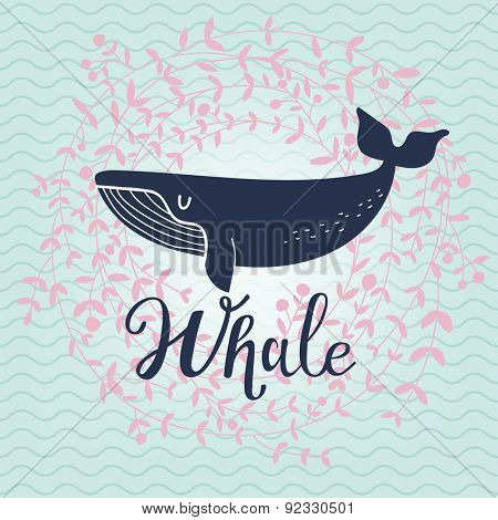 Cute whale card. Lovely whale on stylish blue colored background with floral wreath in vector. Lovely childish card in stylish colors