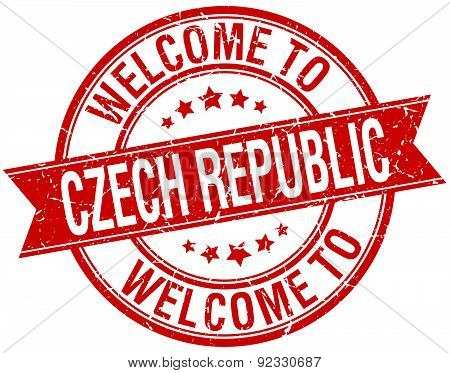 Welcome To Czech Republic Red Round Ribbon Stamp