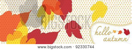 Hello Autumn Banner With Dot Pattern