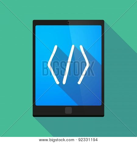 Tablet Pc Icon With A Code Sign