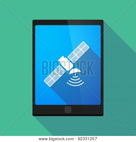 Tablet Pc Icon With A Satellite