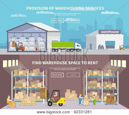 Warehouse Flat Banner Set