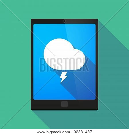 Tablet Pc Icon With A Stormy Cloud