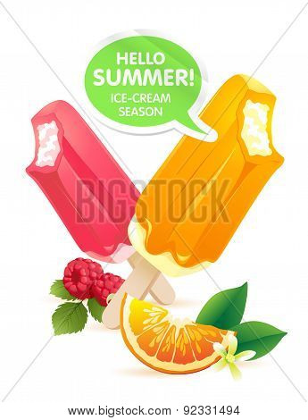 Orange and raspberry popsicle ice-cream colorful poster