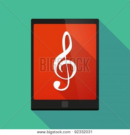 Tablet Pc Icon With A G Clef