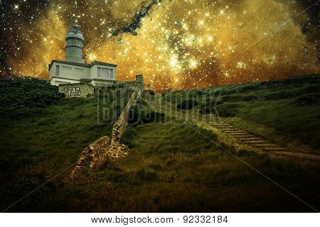 Lighthouse And Small Magellanic Cloud (elements Of This Image Furnished By Nasa)