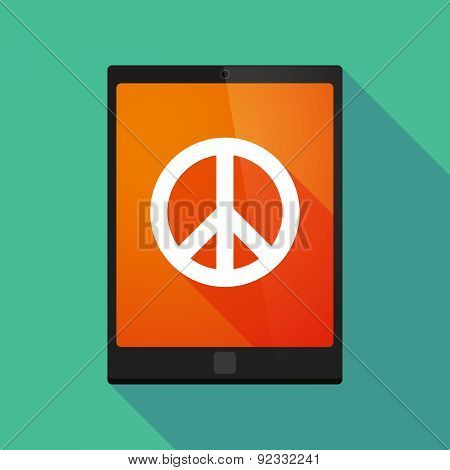 Tablet Pc Icon With A Peace Sign