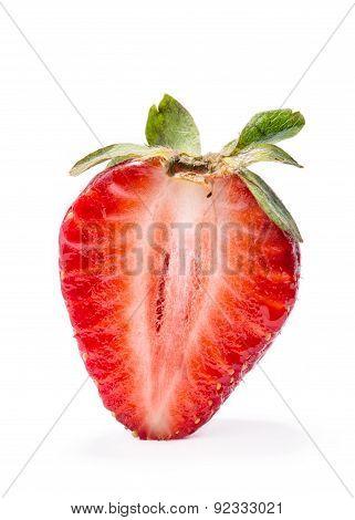 Half Of Strawberry Isolated On White Background.