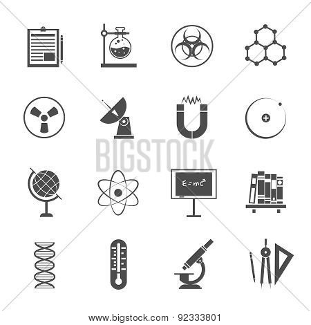 Science icons set black