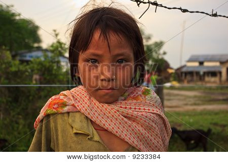 Portrait Of Neighborhood Child In Sauraha, Nepal