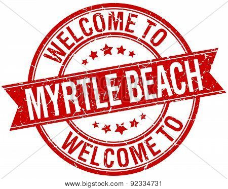 Welcome To Myrtle Beach Red Round Ribbon Stamp