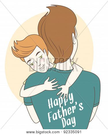 Father and son hugging. Hand drawn style greeting card for fathe