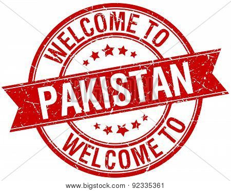 Welcome To Pakistan Red Round Ribbon Stamp