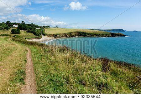 Coastal Pathway leading to Porthcurnick Beach Cornwall England Landscape